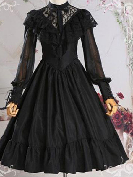 Milanoo Sweet Lolita OP Dress Black Ruffles Lolita Vestidos de una pieza