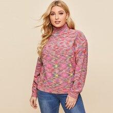 Plus High Neck Drop Shoulder Space Dye Sweater