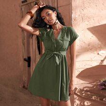 Flap Pocket Roll Up Sleeve Belted Dress