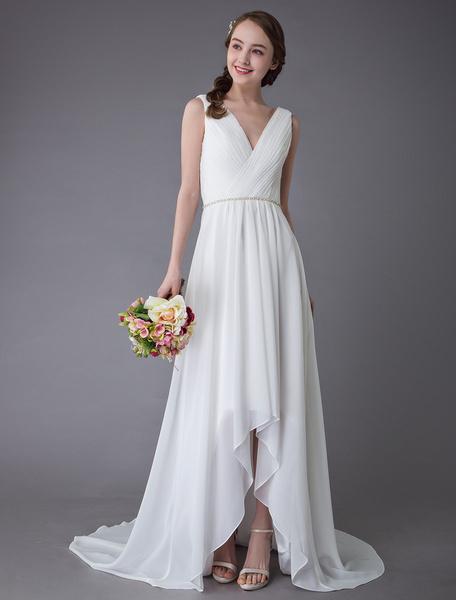 Milanoo Beach Wedding Dresses Chiffon V Neck High Low Sash Summer Bridal Dress
