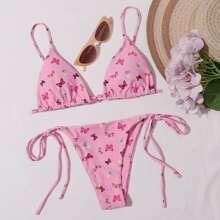 Bikini Badeanzug mit Schmetterling Muster und seitlichem Band