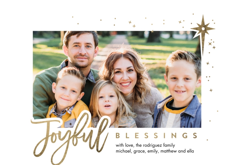 Christmas Photo Cards 5x7 Cards, Premium Cardstock 120lb, Card & Stationery -Christmas Joyful Blessings by Tumbalina