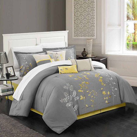 Chic Home Bliss Garden 8-pc. Midweight Embroidered Comforter Set, One Size , Yellow
