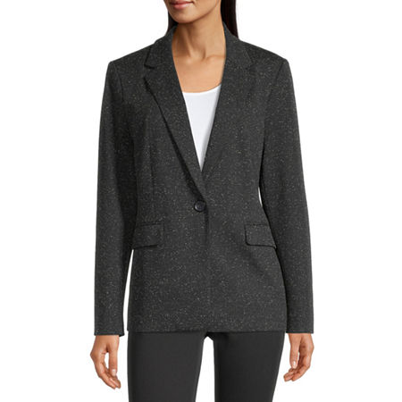 Liz Claiborne Womens Classic Fit Knit Blazer, Large , Black