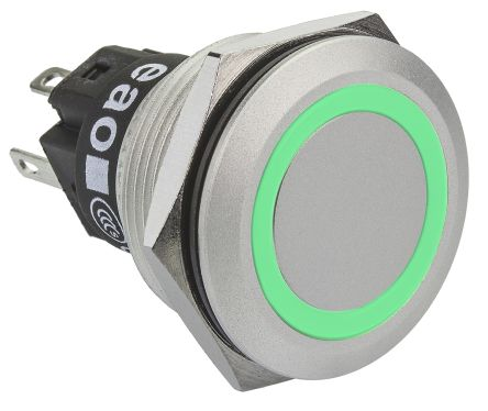 EAO Single Pole Double Throw (SPDT) Momentary Green LED Push Button Switch, IP65, IP67, 22 (Dia.)mm, Panel Mount, 230V