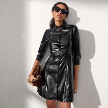 Single Breasted PU Leather Shirt Dress