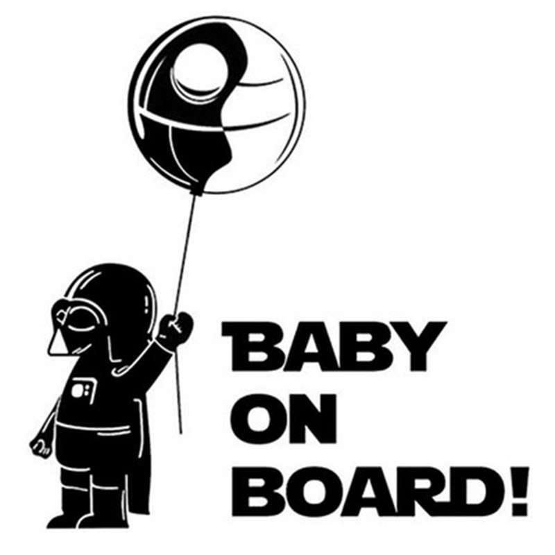 Cartoon Style Baby With The Balloon PET Reflective Warning Car Stickers