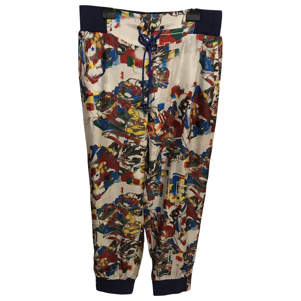 Mcq \N Multicolour Silk Trousers for Women S International