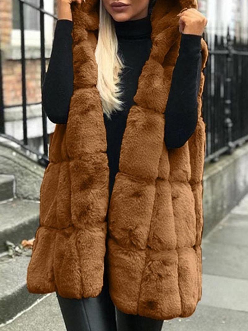Ericdress Hooded Plain Mid-Length Vest