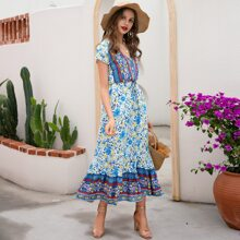 Kleid mit Knopfen vorn, Raffungsaum, Stamm & Blumen Muster