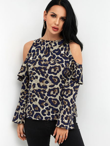 Yoins Leopard Cold Shoulder Bell Long Sleeves Flouncy Blouse