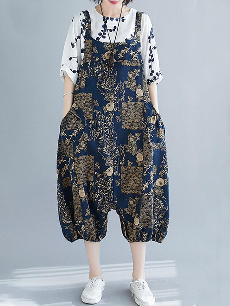 Leaves Floral Print Vintage Straps Jumpsuit For Women