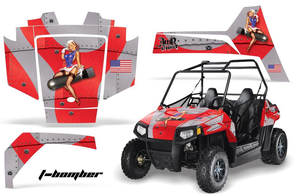 AMR Racing Full Custom UTV Graphics Decal Kit Wrap TBomb Red Polaris RZR 170 Youth 14-18