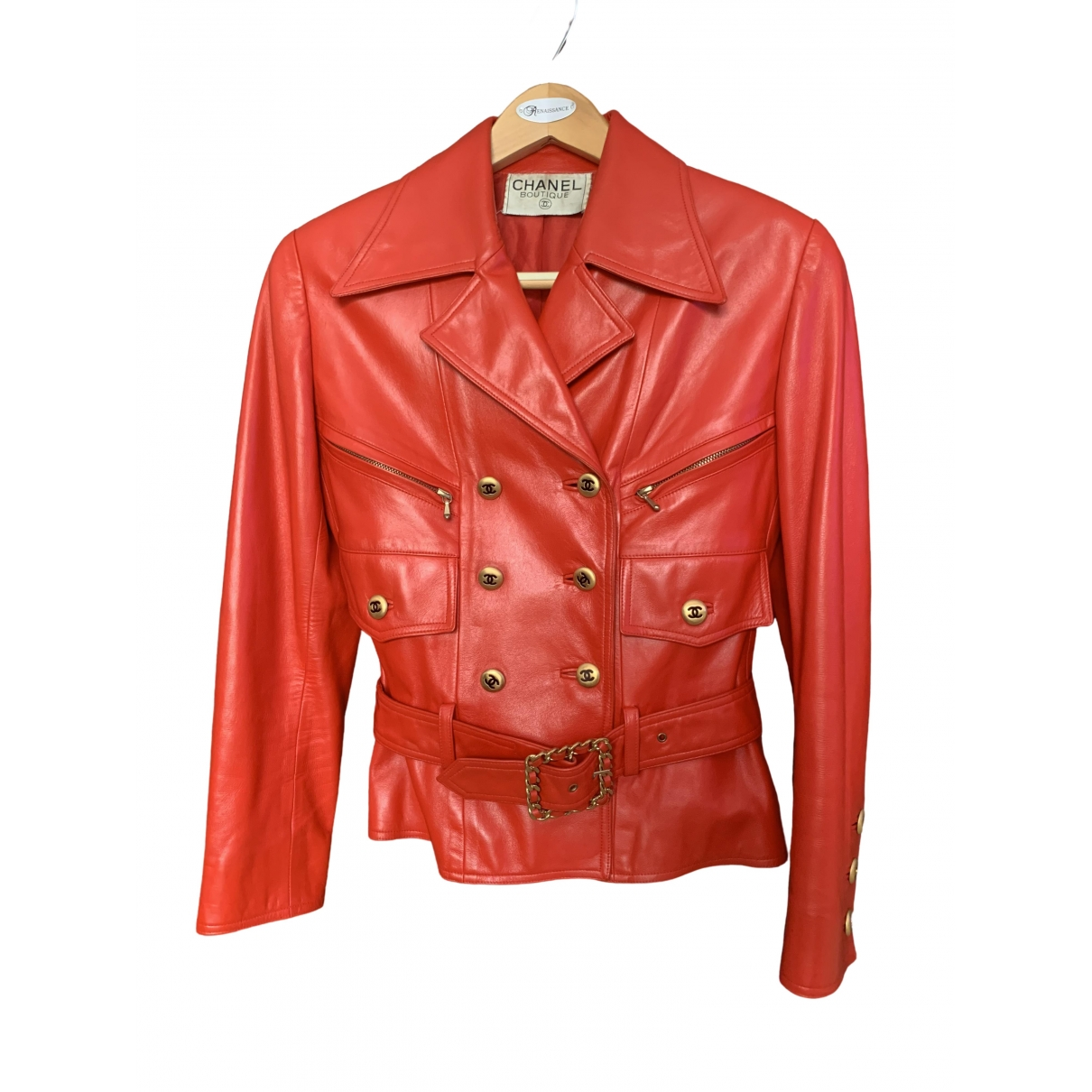 Chanel \N Red Leather jacket for Women 38 FR
