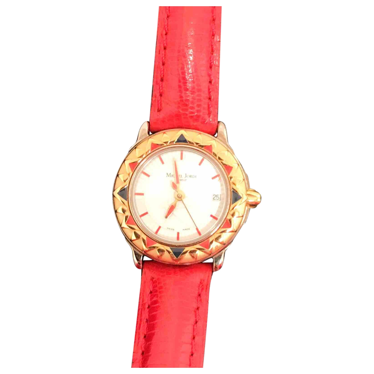 Non Signé / Unsigned \N Red Steel watch for Women \N