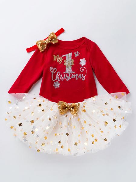 Milanoo Kid Christmas Set Sequin Gilding Tutu Skirt With Cotton Top Christmas Pattern Holidays Costumes