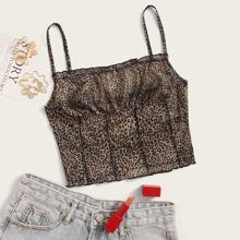 Cami Top mit Rueschen und Leopard Muster