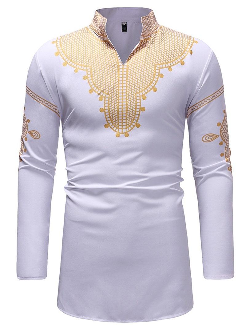 Ericdress African Fashion Dashiki Stand Collar V-Neck Mens Casual T Shirts