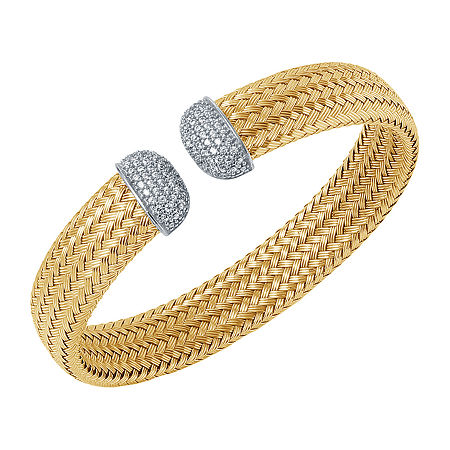 Paris 1901 By Charles Garnier Womens White Cubic Zirconia Cuff Bracelet 18K Gold Over Silver, One Size , No Color Family