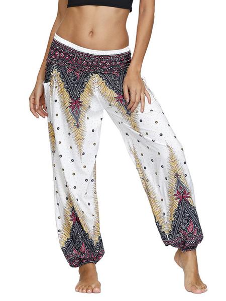 Milanoo Pantalones sueltos estampados con cintura levantada blanca para mujer