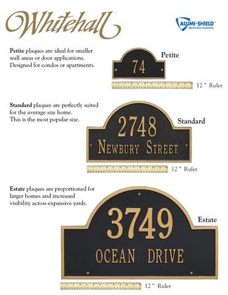 1325BW Hartford Estate Wall Plaque - Holds up to 2 Lines of Text in Black and White