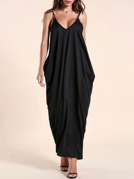 Milanoo Vestido largo negro  Moda Mujer Color liso sin mangas Vestidos de poliester en capas con cuello en V Verano estilo street wear