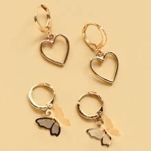 2 Paare Ohrring mit Herzen Anhaenger