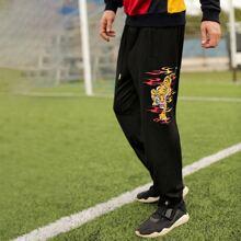 Joggers con estampado de tigre con bolsillo oblicuo de cintura con cordon