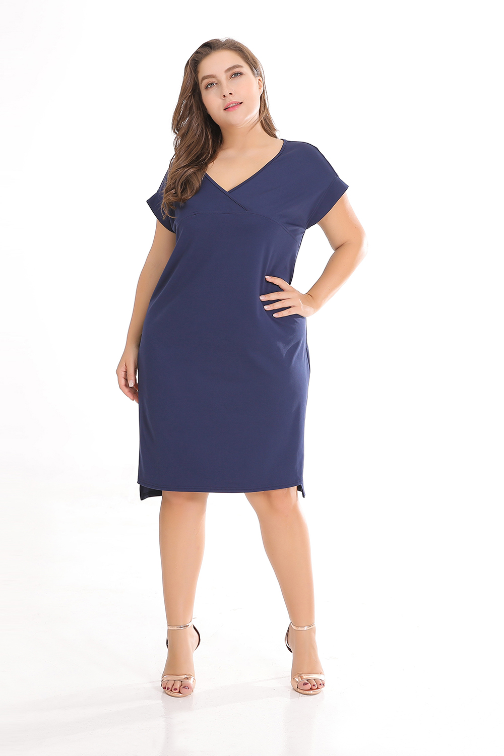 Loose Model Casual Style Pure Color Polyester Plus Size Dress