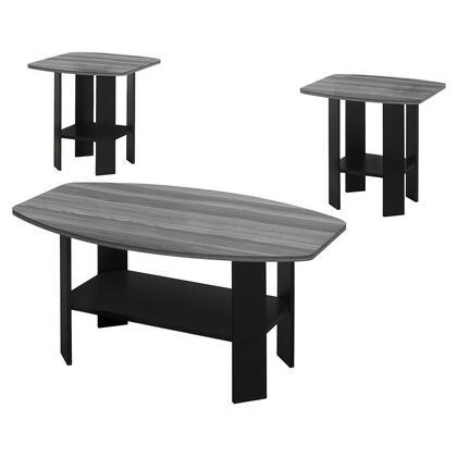 I 7928P Table Set - 3-Piece Set / Black / Grey