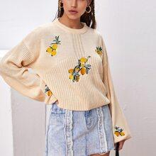 Drop Shoulder Embroidered Lemon Sweater