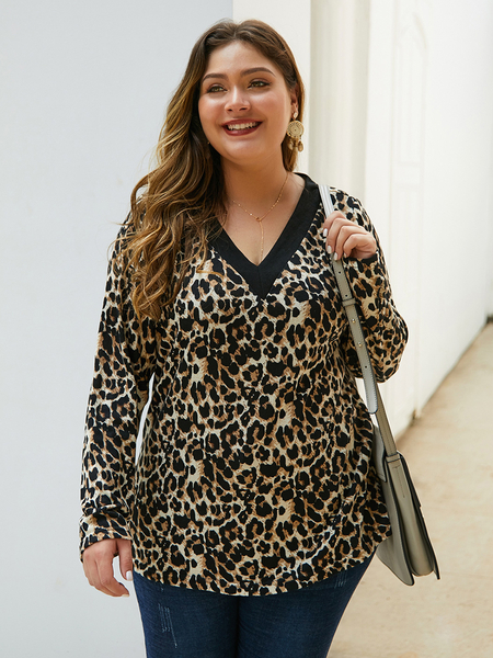 Yoins Plus Size Leopard V-Neck Long Sleeves Tee
