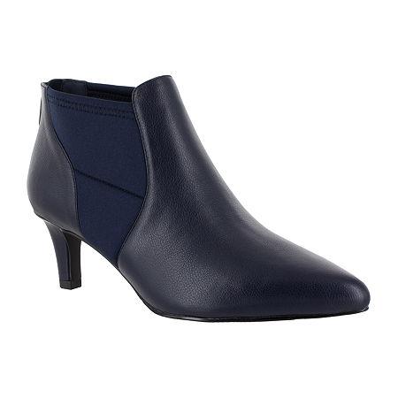 Easy Street Womens Saint Zip Pointed Toe Booties, 10 Medium, Blue