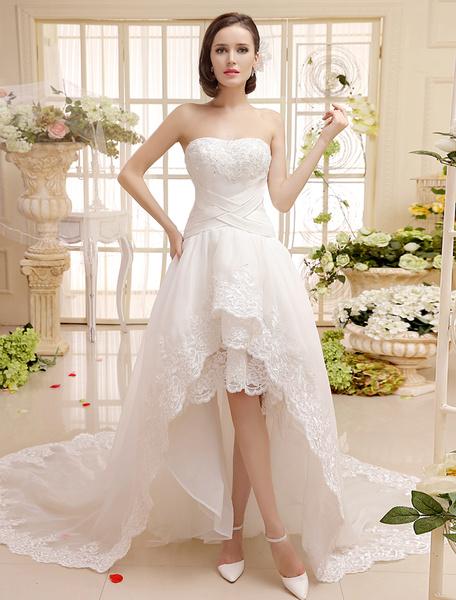 Milanoo Vestido de novia con escote en corazon y perlas de cola asimetrica