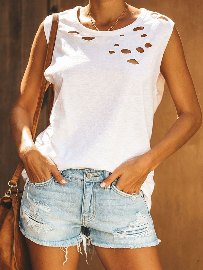 Ericdress Hole Loose Summer Mid-Length Casual Tank Top