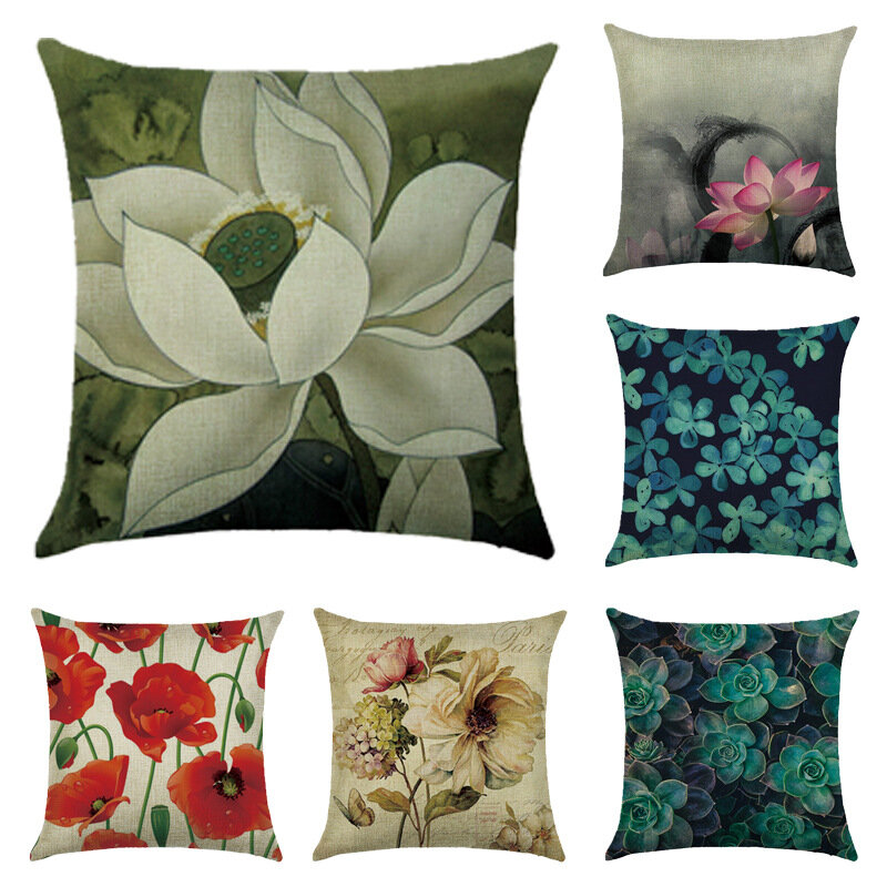 45x45cm Various Flower Style Cotton And Linen Pillowcases Decorations For Home Pillow Case