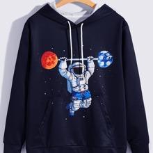 Hoodie mit Astronaut Muster, Kaenguru Tasche und Kordelzug