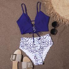 Bikini Badeanzug mit ueberallem Muster und Band