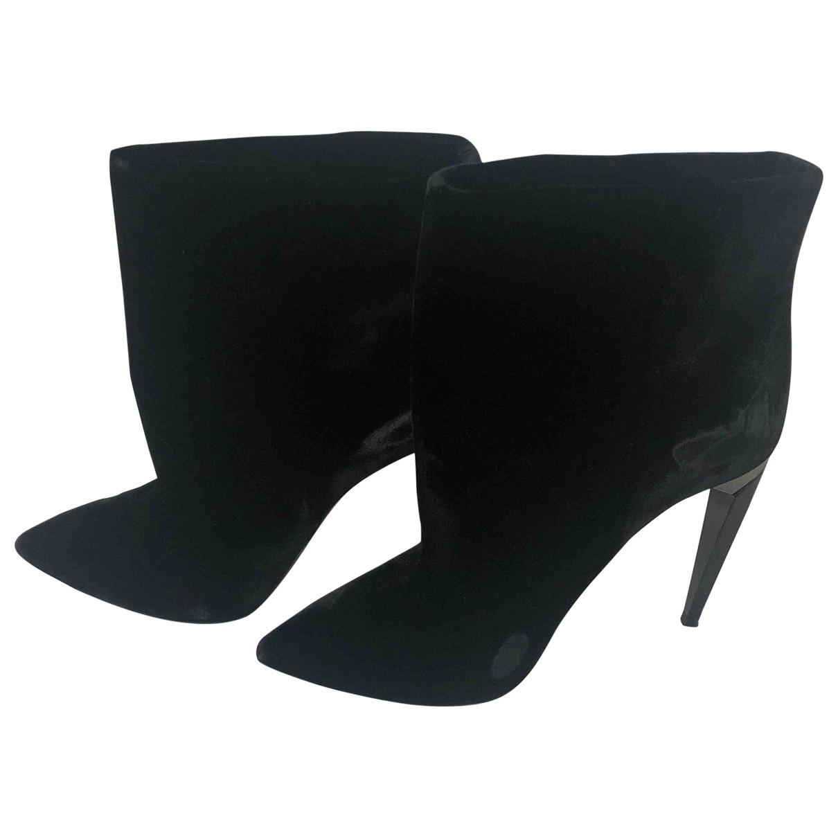 Saint Laurent - Boots   pour femme en velours - noir