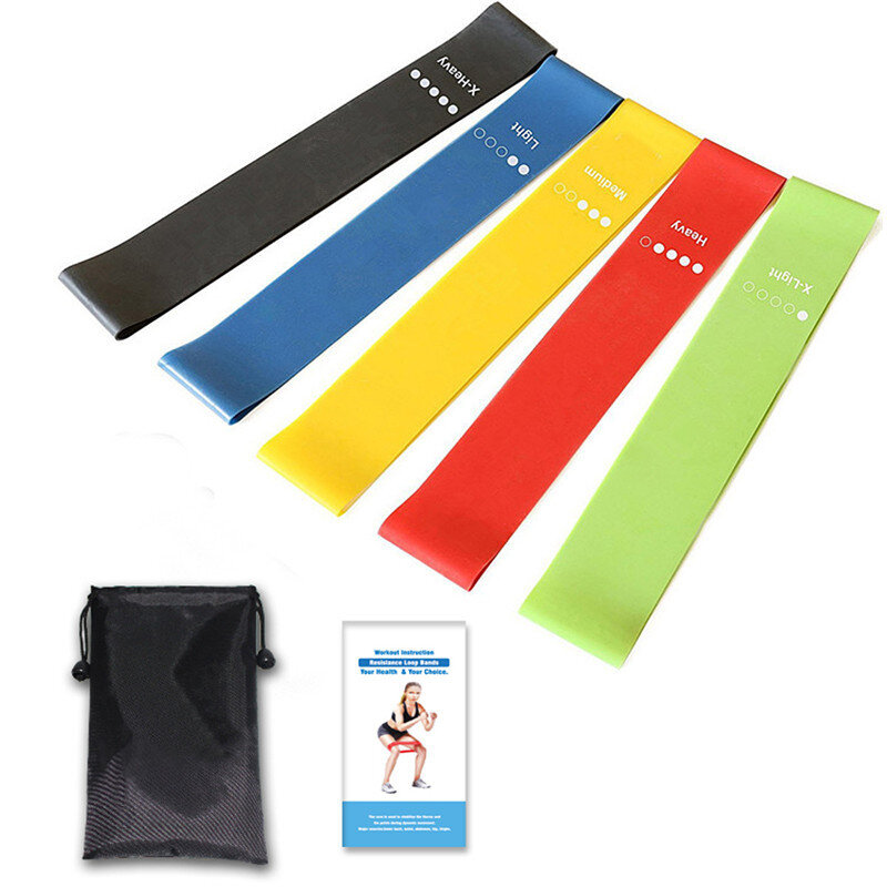 5Pcs/Set Resistance Loop Exercise Bands Fitness Resistance Bands with Instruction Guide Carry Bag