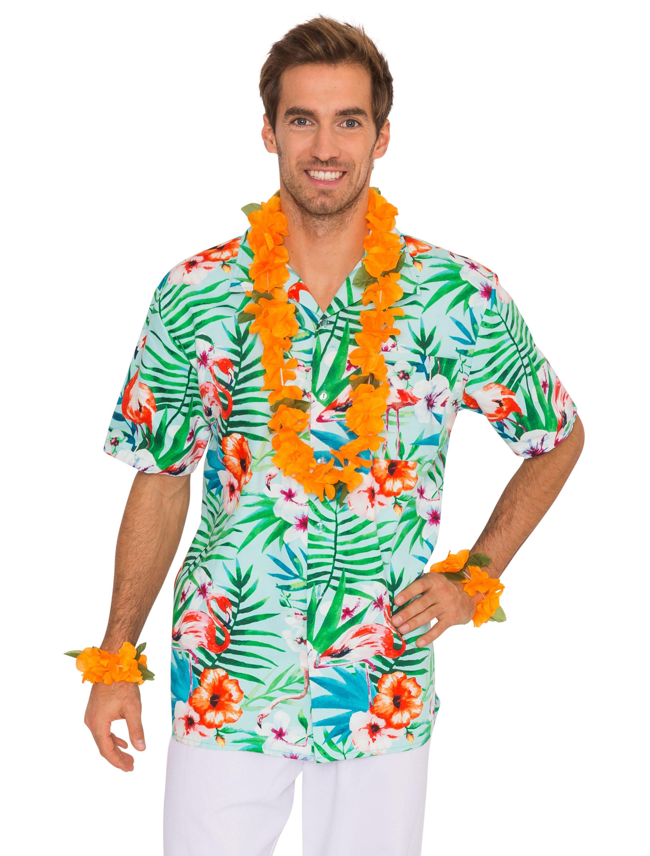 Hemd Hawaii gruen mit Flamingos S/M