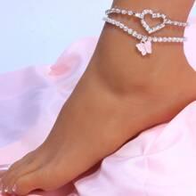 2 piezas pulsera tobillera con diamante de imitacion con diseño de mariposa y corazon