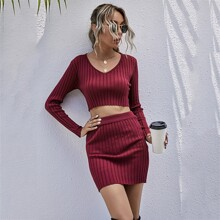 V-neck Crop Sweater With Knit Skirt