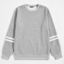 Men Striped & Letter Graphic Sweatshirt