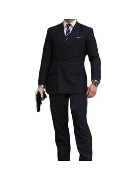 Men's Kingsman Double Breasted Button Closure Black Fully Lined Suit