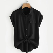 Camisa irregular de manga murcielago