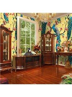 Elegant Peacock Non-woven Fabrics Environment Friendly Waterproof Wall Mural