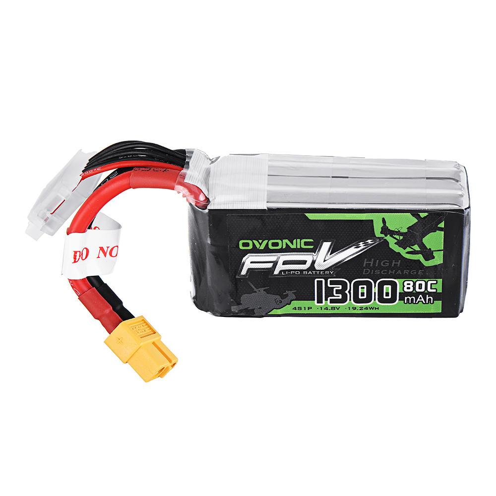 Ovonic 14.8V 1300mAh 80C 4S Lipo Battery XT60 Plug for FPV RC Drone