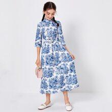 Girls Mock Neck Landscape Print Belted Dress