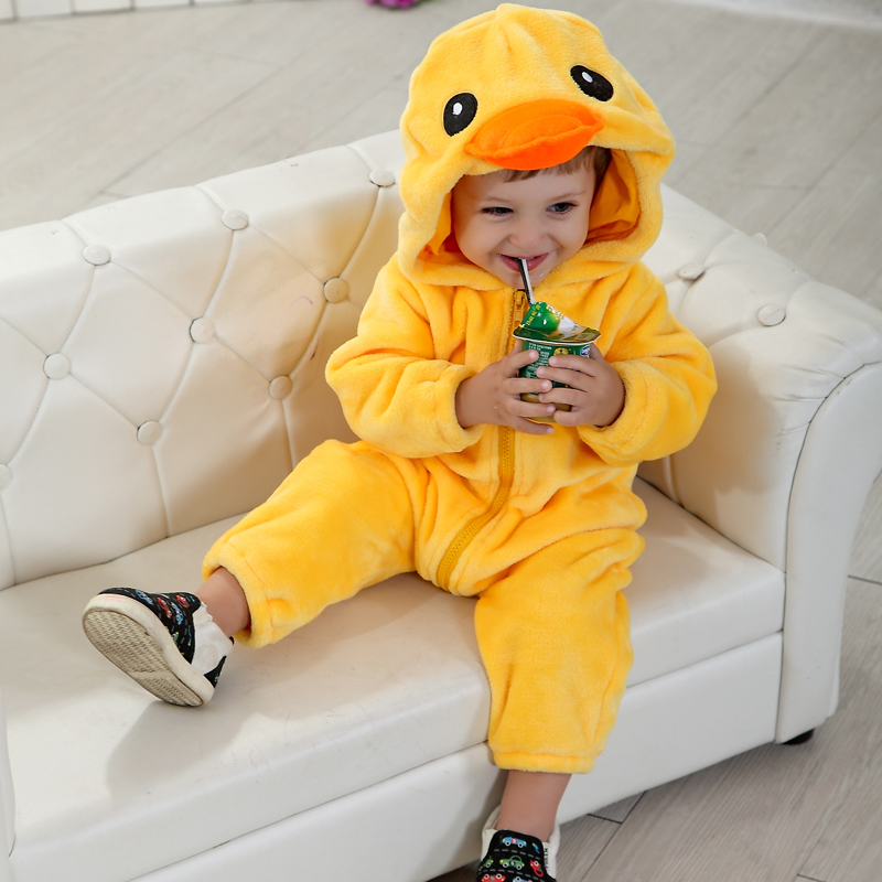 3D Cute Little Duck Shaped Yellow Polyester Baby Jumpsuit